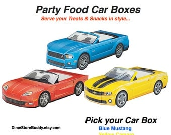 Car Food Boxes / 6 count  Modern Chevy Red Corvette Chevy Camaro Ford Mustang Car Food Tray Car Box Car Treat Box Cute Kids Food Box