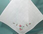 White Linen Madiera Handkerchief Embroidery Design Pattern in One Corner Collectible Madiera Hankie, Straight Edge Hankie
