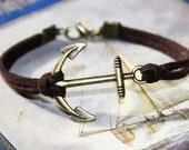 Men Anchor Friendship Bracelet SYNTHETIC Leather brown  - handmade nautical maritime   longdistance boyfriend girlfriend gift