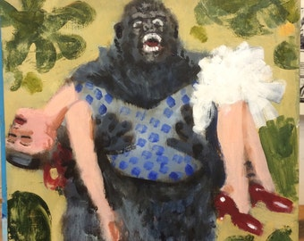 Gorilla carrying Woman with Red Shoes