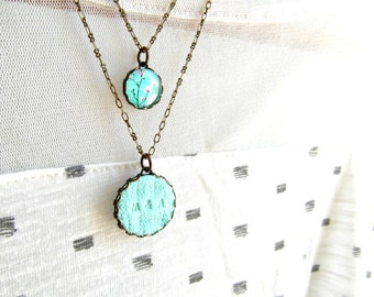 Layered initial necklace , Two Initial Necklace , Mint pendant necklace, Double charm necklace, initial charm