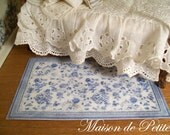 Romantic, traditional French Cottage style 1:12 Scale Dollhouse Mini Handmade Vintage-style Shabby Rug - Blue and Off White with roses