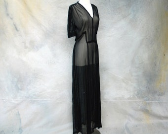 1930s Old Hollywood black sheer evening dress- 30s deco style long dress