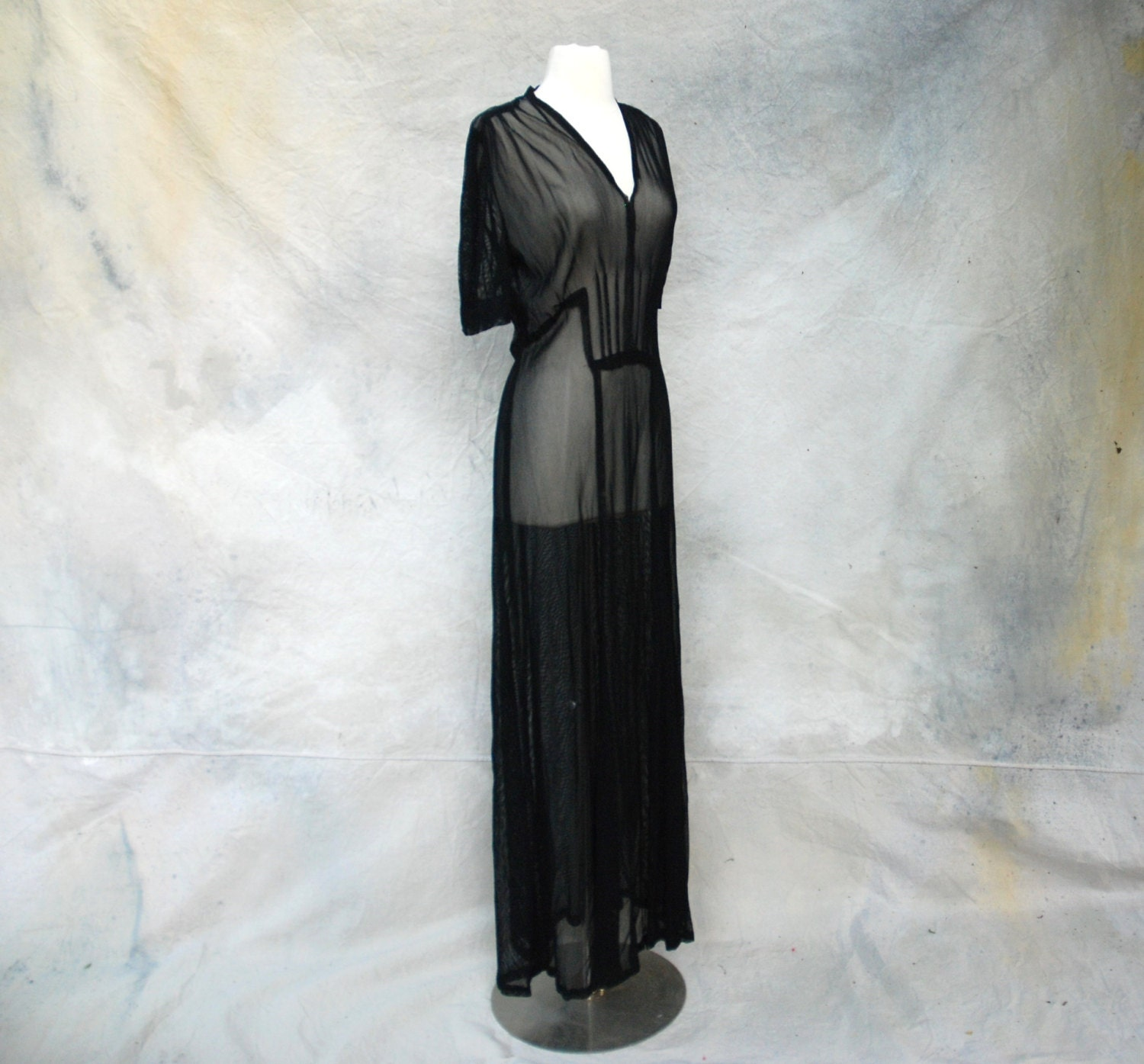 1930s old hollywood black sheer evening dress by circa1955vintage