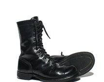 7 D | Vintage Double H / HH Paratrooper Jump Boots Cap Toe Combat Boots in Black Leather