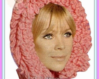 PDF Knitting Pattern - Retro Loopy/Loop Stitch Hood or Hat   - Instant Download