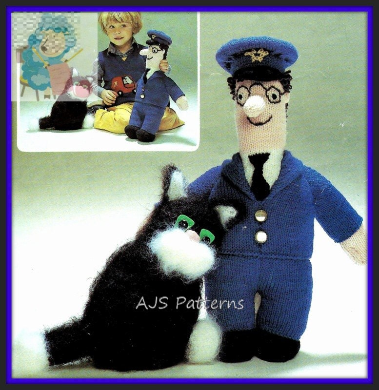 Easy Knitted Headband Free Pattern : PDF Knitting Pattern for Postman Pat and Jess The Cat