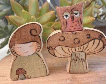 Wood Toys-Lil Gnome-Matsutake Mushroom-Owl-Pretend Pllay-Waldorf Inspired