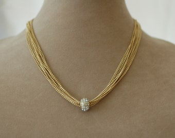 Layered Chain Necklace, Gold multi strand necklace, Crystal Charm Necklace, Gift for her, Graduation Gift