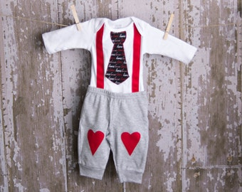 Adorable Valentine Tie Bodysuit with suspenders and matching pants Any Size newborn to 12 months