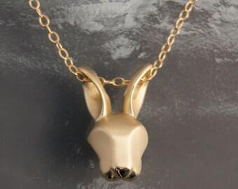 bunny pendant , bronze