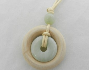 Nursing Necklaces by Life Circles - New Jade and Natural Wood with Accent Bead