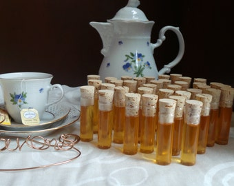 Tea Party Honey Favors, 30 FRESHLY FILLED & Safety Sealed Glass Vials