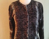 Vintage Animal Tiger Print Cardigan Sweater size Small