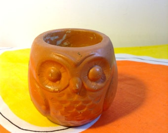 Vintage OWL Candle holder.  Ceramic figure. 1960's.  Mod Kitsch.  Votive.