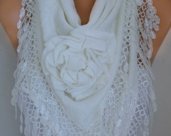 White Knitted Floral Scarf, Wedding Shawl,Bridal Shawl Cowl Lace Bridesmaid Gift  Gift For Her,Women Fashion Accessories