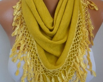 Mustard Knitted Scarf ,Shawl, Lace Oversized Bridesmaid Bridal Accessories Gift Ideas For Her Women Fashion Accessories Teacher Gift