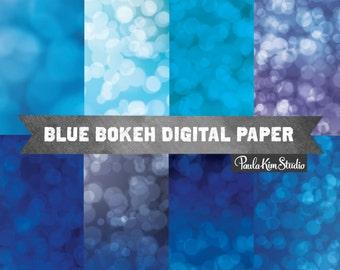Blue Bokeh Digital Paper Pack, Commercial Use Instant Download, Background Overlays