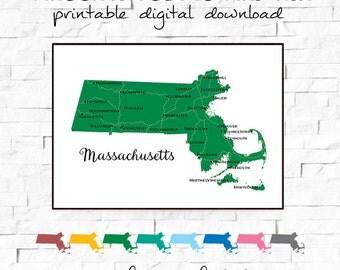 80% OFF SALE Massachusetts Map, Printable Art, Massachusetts Art Print, Digital Download, Map Art Print