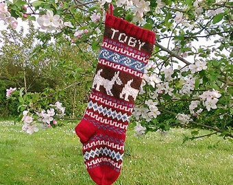 Knitted Holiday Stocking with Dogs Fair Isle Personalized Customized Christmas Stocking choose color, pattern, size Made to Order