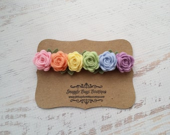 Pastel Rainbow Rose Garland Headband - Wool Felt Flower Headband- Shabby Chic Wedding Flower Girl Headband