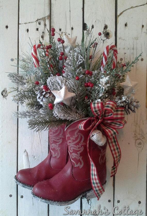 Reserved sale christmas arrangement cowboy boot holiday floral door