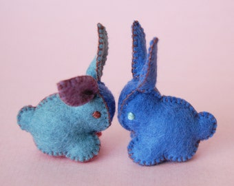 Twin Felted BABY BUNNIES-- Blue red purple set of Toys -- Hand Made in Canada -- Pure Merino Wool Handmade Felt