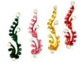 BINDI Dancing PEACOCKS Pack 4 Swarovski crystal BINDIS,Indian Bindi,India, Self Adhesive Tattoo Body Art Wedding & Bridal sticker Jewelry