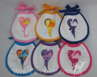 "Friendship is Magic My Little Pony ""Mane Six"" Embroidered Bib"