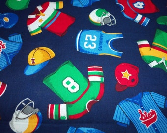 Baseball Football Basketball Fabric Kids Uniforms Go Team! By The Fat Quarter New BTFQ