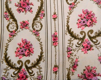1940s - 1950s Floral Drapery Fabric  ... Vintage Floral Stripe Bark Cloth in Rose and Old Gold ... 9 Yards