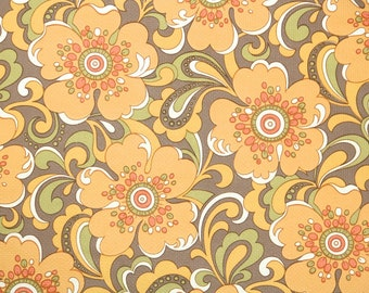 Delightful Retro Wallpaper By The Yard 70s Vintage Wallpaper   1970s Large Orange  Flowers On Brown With Good Looking