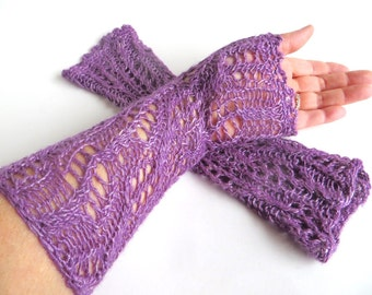 """Long elegant silk lace mittens """"Aimée"""", pure Tussah silk, wild silk, plant dyed, knitted, crocheted, purple, violet, lilac, pastel, lavender"""