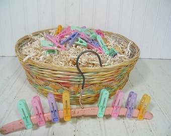 A Perfect Beginning to a Baby Shower Gift Basket - Vintage Oversized Pastel Woven Wicker Basket with 37 Clothes Pins & Antique Wooden Hanger