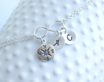 Entirely Sterling Silver Infinity Compass Bracelet with Initials... You choose how many...