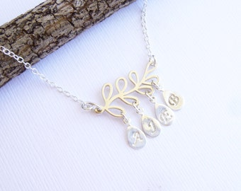 Sterling Silver Family Tree Necklace with Initials -- Personalized -- Choose How Many Initials