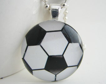 Soccer Ball Glass Tile Pendant with Free Necklace