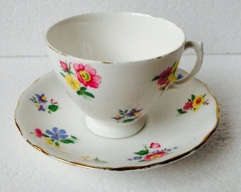 Pink Yellow Blue Flower Teacup & Saucer Vintage English bone china Afternoon Tea Party Made in England Royal Vale Baby Shower Wedding Gift