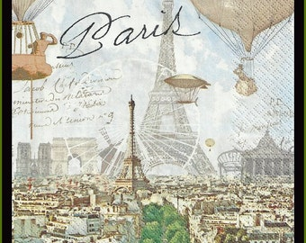 Paris, eiffel tower, hot air balloons, lot of 4 paper napkins for decoupage, plus a large variety of other napkins in my shop
