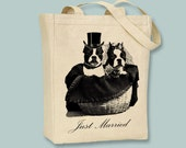 Boston Terrier Bride and Groom Just Married Tote  - Selection of  image colors and sizes available