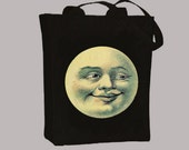 Vintage Man in the Moon Natural or Black CanvasTote  - Selection of sizes available