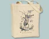 Fanciful Musical Grasshopper Playing Violin Vintage Illustration Canvas tote -- selection of sizes available, Image in ANY COLOR