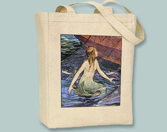 Gorgeous Vintage Mermaid  Canvas Tote -  selection of sizes available