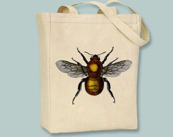 Vintage Golden Bee illustration on Canvas Tote  - Selection of sizes available