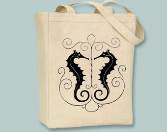 Gorgeous Vintage Seahorses Illustration Canvas Tote  -  Selection of sizes, ANY COLOR IMAGE available