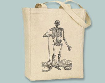 Vintage Skeleton with Shovel Illustration Canvas Tote -- Selection of sizes available