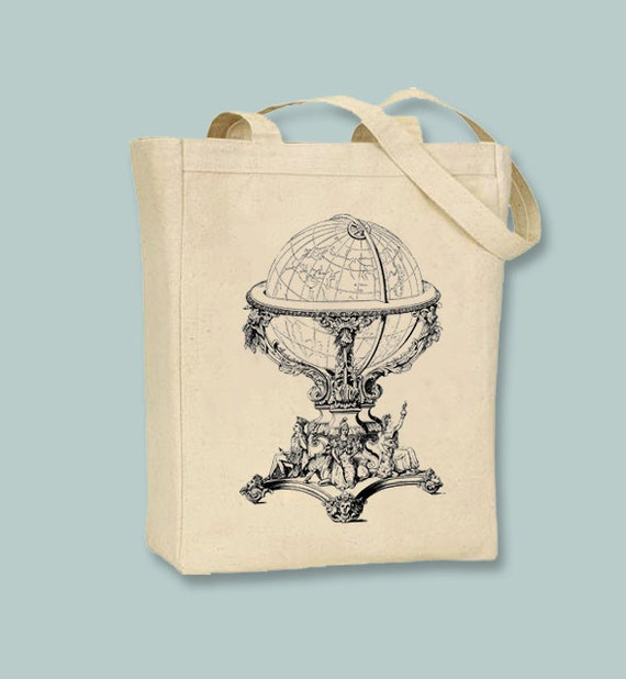 Ornate Steampunk Vintage Globe Canvas Tote -- Selection of sizes available, image in ANY COLOR