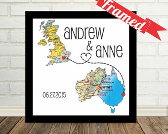 Engagement Gift Personalised Map Art Print FRAMED Art Any Location Available Wedding Gift Anniversary Gift Custom Map Valentines Day