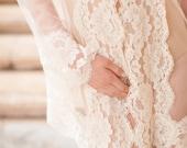 Amalfi Boudoir Hooded Tulle & French Lace Robe Kimono - style 310