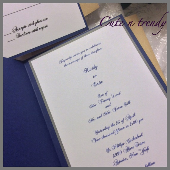 Wedding Invitations High End: Navy Blue High End Lace Wedding Invitation Suite